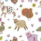 Humor,Art And Craft,Background,Art,Farm,Doodle,Animal,Cute,Painted Image,Cow,Cheerful,Collection,Summer,Duck,Illustration,Nature,Leaf,Animal Markings,Chicken - Bird,Lamb,Seamless Pattern,Bird,Heart Shape,Drawing - Activity,Backgrounds,Domestic Cattle,Turkey - Bird,Fun,Vector,Sheep,Pattern,Boho,Textile