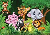Characters,Humor,Africa,Monkey,Flower,Animal Wildlife,Animal,Cute,Savannah,Cartoon,Cheerful,Tropical Rainforest,Mammal,Animals In The Wild,Safari Animals,Illustration,Nature,Mascot,Happiness,Hippopotamus,Showing,Forest,Landscape,Crocodile,Tail,Young Animal,Cheetah,Elephant,Tall - High,Zebra,Giraffe,Tree,Lion - Feline,Fun,Vector,Gesturing,Smiling,Waving,Standing