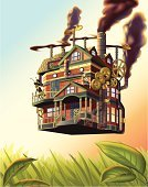 House,Fantasy,Home Interior,Vector,Flying,Victorian Architecture,Victorian Style,Residential Structure,Built Structure,Smoke - Physical Structure,Grass,Porthole,Door,Gear,Pipe - Tube,Grasshopper,Leaf,Painted Image,Building Exterior,Field,Window,Insect,Adventure,Staircase,Steam,Sky,Balcony,Gauge,Top Hat,On The Move,Steps,Propeller,Mobility,Smog,Day,Transportation,Architectural Detail,Animals And Pets,Architecture And Buildings,Insects