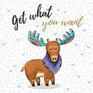 Child,Creativity,Computer Graphics,Moose,Background,Deer,Animal Wildlife,Animal,Cute,Mammal,Illustration,Postcard,Image,Fairy,Computer Graphic,Decoration,Drawing - Activity,Backgrounds,Antler,Vector,Multi Colored,Greeting