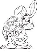 Easter,Rabbit - Animal,Eggs,Black And White,Happiness,Vector,Ilustration,Drawing - Activity,Clothing,Holiday,Holidays And Celebrations,Easter,Illustrations And Vector Art,Isolated On White,Smiling,Carrying,Animals And Pets