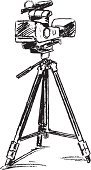 Movie Camera,Film Industry,Tripod,Television Camera,Vector,Ilustration,videography,Black And White,Pen And Ink,Lens - Optical Instrument,Sound Recording Equipment,Entertainment,Media Equipment,Video Equipment,Movie Making,Video,Professional Equipment