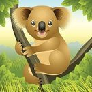 Koala,Cartoon,Animal,Young Animal,Forest,Wildlife,Tree,New Life,Nature,Smiling,Wild Animals,Baby Animals,Vector Cartoons,Illustrations And Vector Art,Animals And Pets,Celebration,Playful,Characters