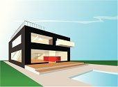 House,Home Interior,Modern,Residential Structure,Swimming Pool,Built Structure,Construction Industry,Real Estate,Green Color,Cool,Red,Homes,Architecture And Buildings,Blue,Black Color,Sky
