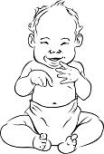 Baby,Diaper,Ilustration,Laughing,Black And White,15-18 Months,Vector,Pen And Ink,happy baby,Happiness,Cheerful
