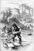 Panning for Gold,Gold Rush,Gold,Miner,California,Nugget,Washing,History,Cooking Pan,Wild West,Old-fashioned,Engraved Image,River,Image Created 19th Century,19th Century Style,USA,American Culture,Stream,Western USA,Land Rush,Men,Shovel,Characters,Working