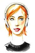Teenager,Adult,Vertical,Adolescence,Women,Music,Sketch,Beauty,Headphones,Beautiful People,Illustration,People,Hip Hop,Human Body Part,Youth Culture,Watercolor Painting,Arts Culture and Entertainment,Drawing - Art Product,Human Face,Redhead