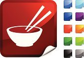 Bowl,Chopsticks,Chinese Cuisine,Food,Symbol,Delivering,Computer Icon,Vector,Meal,Ilustration,Digitally Generated Image,Red,Label,Computer Graphic,White Background,Green Color,Black Color,Design,Rice Bowl,Blue,Purple,Shiny