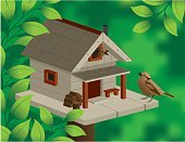 Birdhouse,Bird,Home Sweet Home,Outdoors,Ilustration,Married,Nature,Nature,Birds,Illustrations And Vector Art,Animals And Pets,Green Color,Leaf
