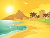 Beach,Cartoon,Brazil,City,Backgrounds,Vector,Hotel,Mountain,Sea,Palm Tree,Airplane,Sun,Ilustration,Cityscape,Tropical Climate,Vacations,Tourist Resort,Landscaped,Summer,Travel Destinations,Sunlight,Sunspot,No People,Recreational Pursuit,Illustrations And Vector Art,Horizontal,Vector Cartoons,Travel Locations,Beaches,Summer Resort