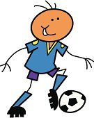 Stick Figure,Soccer,Sport,Isolated On White,Exercising,Playing,Vector,Striker,Dribbling,Training Class,Kicking,Clothing,T-Shirt,Action,Ilustration,Shorts,Kids' Soccer,Sports Activity