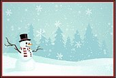 Christmas Card,Polar Climate,Snowman,Christmas,Winter,Snow,Frame,Landscape,December,Tree,Holiday,Pine Tree,Backgrounds,Forest,Design,Placard,Scarf,Vector,Christmas Decoration,Top Hat,Snowflake,Copy Space,Season,Image,Illustrations And Vector Art,Holidays And Celebrations,Sky,Cold - Termperature,Holiday Backgrounds,Christmas