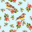 Square,Repetition,No People,Background,Illustration,Nature,Animal Markings,Flower Head,Seamless Pattern,Bird,Backgrounds,Wild Rose,Blue,Red,Pattern,Pink Color