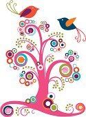 Tree,Fun,Summer,Bird,Ilustration,Swirl,Abstract,Vector,Bride,Circle,Animal,Flower,Love,Floral Pattern,Springtime,Modern,Multi Colored,Spiral,Season,Blossom,Plant,Valentine's Day - Holiday,Loving,Nature,Design Element,Curve,Ornate,Spotted,Dove - Bird,Romance,Dating,Tree Trunk,Flirting,Pigeon,Isolated On White,Curled Up,Design Objects