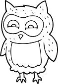 Cute Animals,Freehand,Bizarre,Black And White,Doodle,Cute,Book,Coloring,Illustration,Cultures,Coloring Book,Bird,Clip Art,Drawing - Activity,Owl,Vector