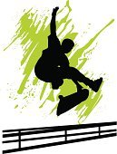 Skateboarding,Skateboard,Jumping,Silhouette,Men,Back Lit,Sport,Vector,Green Color,Boundary,Recreational Pursuit,Illustrations And Vector Art,Vertical,Activity,One Person,Stunt,Young Adult,Black Color