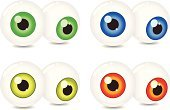 Eyeball,Human Eye,Eyesight,Vector,Bizarre,Circle,Red,Green Color,Yellow,Anatomy,Multi Colored,Ilustration,Isolated Objects,Illustrations And Vector Art,Orange Color,Blue