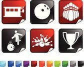 Ten Pin Bowling,Symbol,Computer Icon,Sport,Trophy,Icon Set,Shiny,Label,Bowling Pin,Bowling Ball,Bowling Alley,Vector,Black Color,Folded,Ilustration,Leisure Games,Fun,Bowling Strike,Design,Square,Blue,Digitally Generated Image,Page Curl,Green Color,Red,Stick Figure,Computer Graphic,Square Shape,Orange Color