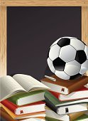 Sport,Education,Book,Soccer,Ball,Blackboard,Vector,Soccer Ball,Backgrounds,Sphere,Sports Equipment,Chalk,Chalk - Art Equipment,Three-dimensional Shape,Ilustration,No People,isolated object,gradient mesh,Writing Board,Opened Book,Copy Space,School Equipments,College Sports