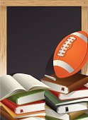 Football,Sport,Book,Education,Blackboard,Chalk,Backgrounds,Three-dimensional Shape,Chalk - Art Equipment,Ilustration,Vector,Sphere,Ball,Copy Space,No People,gradient mesh,Sports Equipment,isolated object,Writing Board,College Sports,Opened Book,School Equipments