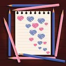 Love,Paper,Note Pad,Pencil,Illustration,Colored Pencil,Heart Shape,Plank,Textured Effect,Peace Symbol,Vector,Construction Frame,Design,Directly Above,Blue,Light Blue,Pink Color,Brown
