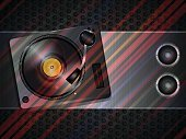 Stereoscopic Image,Hexagon,Eps10,Vector,Computer Graphic,Illustration,Metallic,Striped,Party - Social Event,Musical Instrument,Disk,Turntable,Speaker,Megaphone,Music