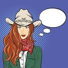 Label,Women,Illustration,Humor,Hairstyle,Lipstick,Pin-Up Girl,USA,Texas,Shirt,Red,Fashion,Human Face,Rodeo,Sign,Thinking,Vector,Beauty Product,Cowboy,Facial Expression,Emotion,Spotted,Cowgirl,Comic Book