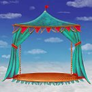 Stage - Performance Space,Theatrical Performance,Painted Image,Cloudscape,Cloud - Sky,Illustration,Curtain