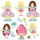 Cartoon,Small,Smiling,Fairy,Cute,Fun,Vector,Illustration,Isolated,Humor,Girls