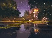 Firefly,Pond,Formal Garden,Reflection,Water,Watercolor Painting,Scenics,Oil Painting,Painted Image,Illustration,Night,Lantern,Stone - Object,Landscape,Creativity,Tree,Art,Acrylic Painting,Tranquil Scene,Art And Craft,Swamp,Light - Natural Phenomenon,Park - Man Made Space,Rock - Object,Nature