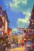 60595,Vanishing Point,Vertical,Creativity,China - East Asia,Art And Craft,Art,Painted Image,City,Illustration,People,Chinese Culture,Oil Painting,Street,Watercolor Painting,Acrylic Painting,Built Structure,Downtown District,Modern,Architecture,Cityscape,Multi Colored