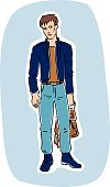 Clothing,Fashionable,Holding,Modern,Males,Sadness,Men,Isolated,Teenager,One Person,Illustration,Cool,Brown Hair,Drawing - Art Product,Vector,Male Beauty,Student,Fashion,Design,Looking,Characters,People,Sketch,White,Caucasian Ethnicity,Relaxation,Adult,Fashion Model,Jacket,Lifestyles,Brown,Backpack,Posing,Jeans,Sweater,menswear,Hairstyle,freehand,Beautiful,Bag,Blue,Standing,Youth Culture,Young Adult
