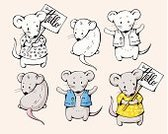 Isolated,Cartoon,Cute,Image,Fun,Outline,Computer Graphic,Humor,Illustration,Pets,Rodent,Set,Hello,Mouse,Vector,Domestic Animals,Animal,Mammal