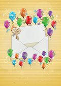 Vector,Gift,Balloon,Illustration,Event,Design,Birthday,Fun,Congratulating,No People,Confetti,Yellow,Send,Air,Envelope,Mail,Eps10,Multi Colored,Gold Colored,Ribbon,Abstract,Streamer,Surprise,Decoration,Backgrounds,Greeting,Wishing,Celebration,E-Mail,Anniversary,Invitation