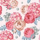 Summer,Flower,Painted Image,Old-fashioned,Design,Hydrangea,Wallpaper Pattern,Illustration,Leaf,Elegance,Decor,Textile,Beauty In Nature,Flowerbed,Peony,Seamless,Bouquet,Print,Rose - Flower,Retro Styled,Springtime,Plant,Vector,Pattern,Nature,Blossom,Beautiful,Backgrounds