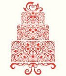 Wedding,Cake,Wedding Cake,Lace - Textile,Vector,Flower,Bird,Cakestand,Heart Shape,Ornate,Love,Modern,Vine,Dessert,Party - Social Event,Weddings,Isolated Objects,Holidays And Celebrations,Illustrations And Vector Art