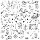 Sailboat,Hand-Held Telescope,Pirate - Criminal,Single Object,Icon Collection,Pirate Skull,Mermaid,Gun,Coin,Nautical Vessel,Brigantine,Vector Elements,Vector,Steering Wheel,Island,Parrot,corsair,Doodle,Freehand Drawing,Symbol,Outline,Illustration,Icon Set,Design Element