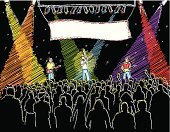 Popular Music Concert,Classical Concert,Pop Musician,Catwalk - Stage,Musical Band,Music,Audience,Crowd,Vector,Singer,Banner,Spectator,People,Rock and Roll,Drawing - Art Product,Artist,Big Band,Singing,Illuminated,Lighting Equipment,Sketch,Trio,Guitarist,Musician,Ilustration,Multi Colored,Blank,Music,Arts And Entertainment,Black Color,Illustrations And Vector Art