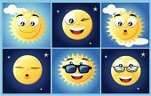 Sun,Cartoon,Moon,Eyeglasses,Star - Space,Smiling,Mascot,Blinking,Cloud - Sky,Sunlight,Characters,Cloudscape,Vector,Sleeping,Night,Cute,Winking,Surprise,Shiny,Sunglasses,Frame,Day,Sky,Ilustration,Anthropomorphic Face,Moonlight,Time,Nature Symbols/Metaphors,Nature,Vector Cartoons,Blue,Dark,Contrasts,Concepts And Ideas,Illustrations And Vector Art