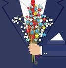 Adult,Romance,Males,Men,Love,Symbol,Bouquet,Gift,Business,Nature,Human Body Part,Human Hand,Birthday,Giving,Flower,Leaf,Springtime,Summer,Anniversary,Birthday Present,Dating,Illustration,Flat,Cartoon,Businessman,Vector,Flirting,Corporate Business,Business Finance and Industry,Suit,Holding,Green Color,Pink Color