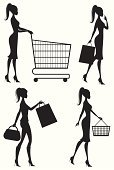 Shopping,Women,Shopping Cart,Silhouette,Teenage Girls,Shopping Basket,Retail,Bag,Walking,Profile View,Fashion,Basket,Customer,Cartoon,Purse,Ilustration,People,Black And White,Vector,Elegance,Shopping Bag,High Heels,Consumerism,Style,Buying,Cute,Retail/Service Industry,Beauty,Industry,Fashion,Beauty And Health,People