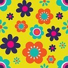 Backgrounds,graphic element,Design Element,Pattern,Vector,Single Flower,Multi Colored,Seamless