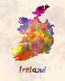 Vertical,Color Image,Republic of Ireland,No People,Painted Image,Illustration,Map,Watercolor Painting