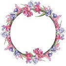 Frame,Square,Cut Out,No People,Flower,Painted Image,Petal,Illustration,Nature,Leaf,Wreath,Circle,Watercolor Painting,Botany,Picture Frame,Curve,Floral,Beauty In Nature,Drawing - Art Product,Pink Color