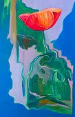 Green Color,Paintings,Single Flower,Flower,Painted Image,Plant,Blossom