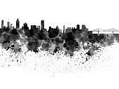 Horizontal,Panoramic,Abstract,Creativity,Grunge,Canada,North America,Montreal,No People,Famous Place,Background,Outdoors,Painted Image,Illustration,Splattered,Spray,Watercolor Painting,Urban Skyline,Backgrounds,Textured Effect,Monument,Architecture,Cityscape