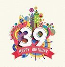 Happiness,Text,Number,35-39 Years,Cheerful,Party - Social Event,Birthday,Colors,Multi Colored,Fun,Adult,Greeting Card,Birthday Card,Anniversary,Congratulating,Illustration,Celebration,Inviting,Vector,Typescript,Geometric Shape,Vibrant Color,Invitation