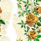 Backgrounds,hand drawn,Blossom,Yellow,Watercolor Painting,Illustration,Print,Rose - Flower,Paisley Pattern,Seamless,Lace - Textile,Floral Pattern,Flower,Pattern