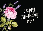 Flower,Leaf,Backgrounds,Summer,Botany,Greeting,Purple,Nature,Art,Decoration,Black Color,Bouquet,Symbol,Lavender,Birthday,Computer Graphic