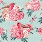 Feather,Romance,Nature,Animal Markings,Bird,Pattern,Finch,Flower,Springtime,Summer,Backgrounds,Flowerbed,Dragonfly,Hydrangea,Peony,Cute,Blossom,Illustration,Beauty In Nature,Polka Dot,No People,Vector,Print,Seamless Pattern,Songbird,61814